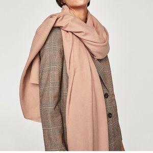 NWT ZARA plain large soft scarf nude pink